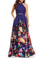 Ellie Wilde High Neck Two-Piece Floral-Printed Ball Gown
