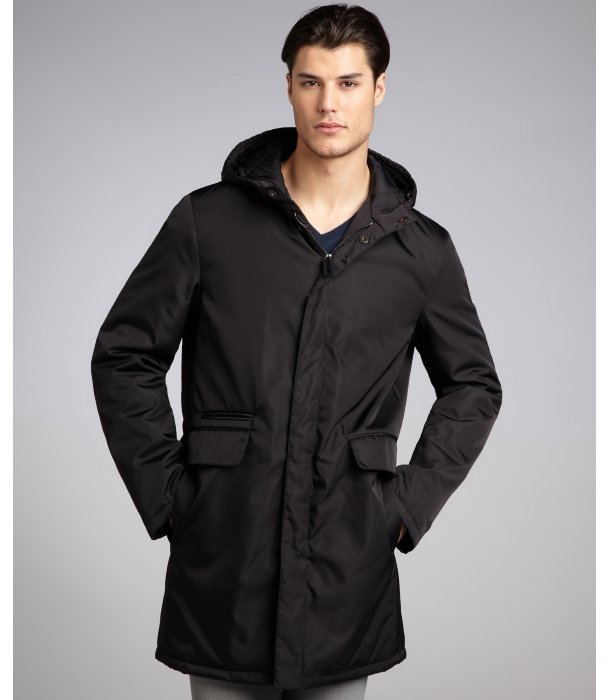 Prada black water resistant hooded coat