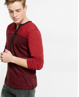 Express striped snap placket long sleeve henley