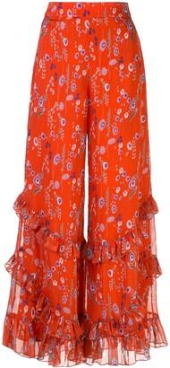 Alexis Faizel silk flared trousers