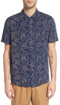 NATIVE YOUTH Men's 'Sundance' Trim Fit Floral Print Short Sleeve Woven Shirt