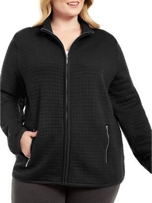 Karen Scott Plus Quilted Cotton-Blend Fleece Jacket