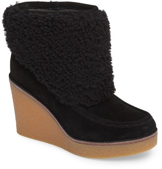 UGG Coldin Genuine Sheepskin Fur Suede Wedge Boot