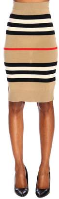 Burberry Pencil Skirt In Stretch Knit With Striped Pattern