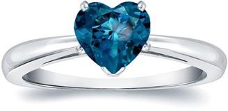 Auriya 14k Gold 1.05ctw Heart Shape Blue Diamond Solitaire Engagement Ring