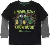 John Deere Black 'I Make Dirt Look Good' Layered Tee - Boys