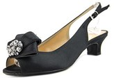 J. Renee Jadan Women N/s Peep-toe Canvas Black Slingback Heel.