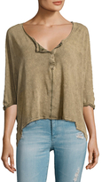Free People First Base Linen Henley Top