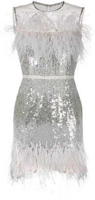 Jenny Packham Feather-Embellsihed Sequinned Dress