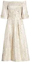 Theia Metallic Jacquard Off-the-Shoulder Dress