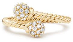 David Yurman 5.5mm Solari 18K Gold Bypass Ring with Diamonds, Size 8