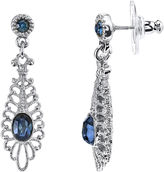 JCPenney 1928 Jewelry Blue Stone Filigree Drop Earrings