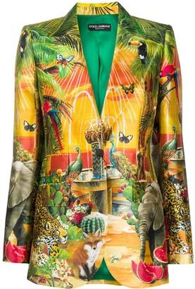 Dolce & Gabbana Jungle-Print Single-Breasted Blazer