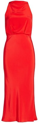 Cushnie High-Neck Open Back Silk Pencil Dress