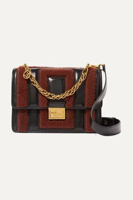 Fendi Kan U Shearling And Crinkled-leather Shoulder Bag - Brown
