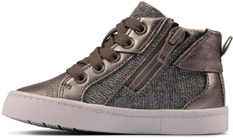 Clarks City Myth Toddler High Top Trainer - Pewter