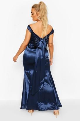 boohoo Plus Occasion Satin Bow Back Maxi Dress