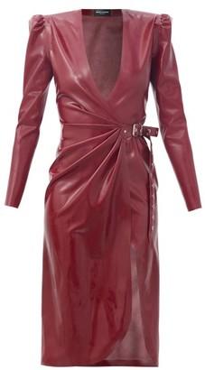 Saint Laurent Buckled Latex Wrap Dress - Red