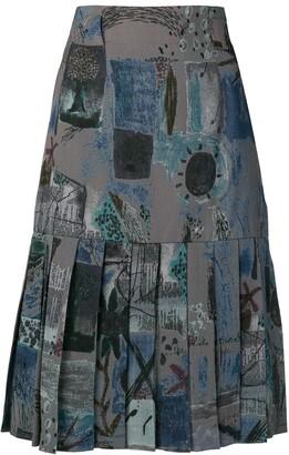Jean Louis Scherrer Pre-Owned Pleated Hem Skirt