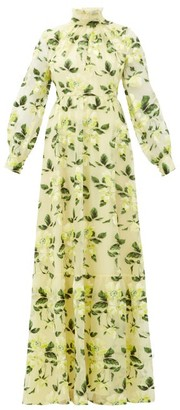 Erdem Clementine Floral-embroidered Silk-organza Gown - Womens - Yellow