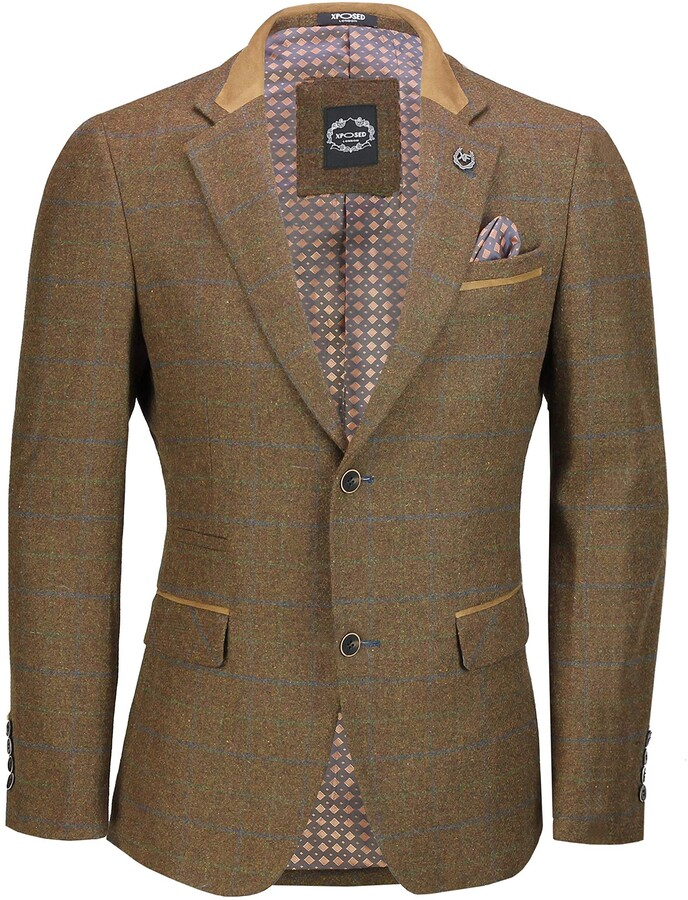 SUIT-X6068-4-TAN-54,UK//US 54 EU 64,Trouser 48 Mens 3 Piece Herringbone Tweed Suit in Brown Retro Style Fitted