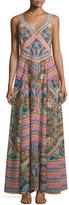 Camilla Embellished Patchwork-Print Maxi Dress, Kenyan Kaleidoscope
