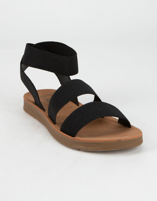 Soda Sunglasses Elastic Banded Ankle Strap Womens Black Sandals