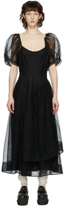 Simone Rocha Black Tulle Asymmetrical Hip Dress