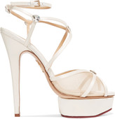 Charlotte Olympia Isadora embellished satin and mesh sandals