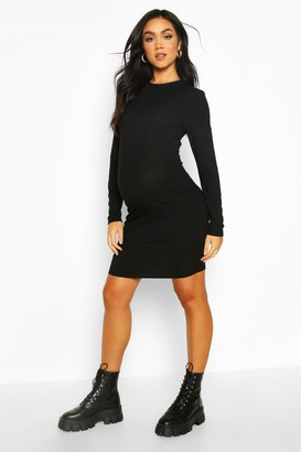 boohoo Maternity Crew Neck Basic Bodycon Dress