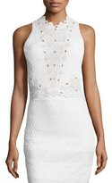 Rebecca Taylor Sleeveless Textured Lace-Trim Top, Snow