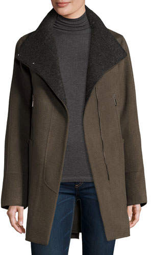 Elie Tahari Double-Faced Wool-Blend Swing Coat, Deep Mocha
