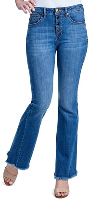 Seven7 Women's High Rise Button-Fly Flared Jeans