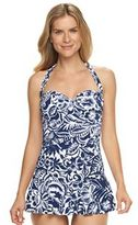 Chaps Women's Tummy Slimmer Swimdress