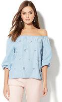 New York & Co. Embellished Off-The-Shoulder Blouse - Ultra-Soft Chambray - Light Indigo