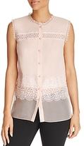 T Tahari Barbra Lace-Trim Blouse