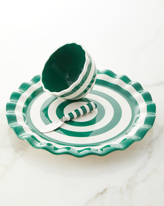 Coton Colors Emerald Spot On Platter with Bowl and Spreader