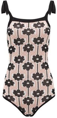 JoosTricot Lina Shoulder-tie Flower-jacquard Bodysuit - Black Pink