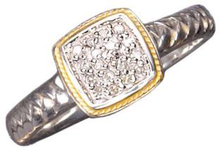 EFFY Balissima Sterling Silver and 18Kt. Yellow Gold Pave Diamond Ring