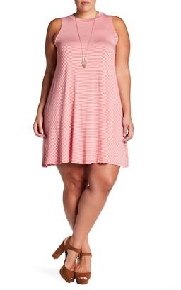 Want & Need Sleeveless Striped Trapeze Dress (Plus Size)
