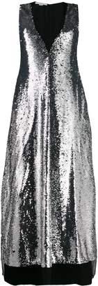 Stella McCartney sequin-layer V-neck maxi-dress
