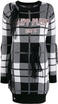 Philipp Plein check pattern knitted dress