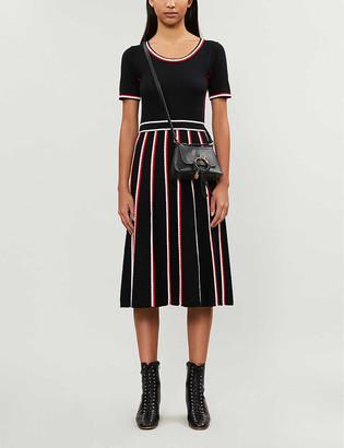 Claudie Pierlot Moto scalloped-trim wool-blend midi dress