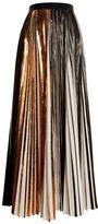Proenza Schouler Copper Foil Print Pleated Cloque Pleated Long Skirt