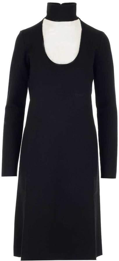 Bottega Veneta Cut Out Neckline Midi Dress