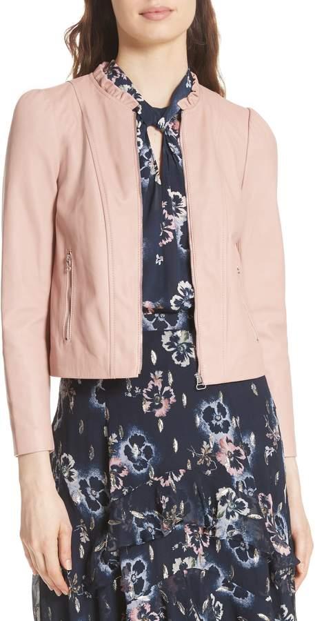 Rebecca Taylor Ruffle Trim Leather Jacket