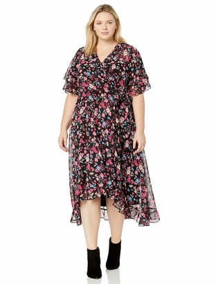 Calvin Klein Women's Size Flutter Sleeved Faux Wrap Maxi Dress