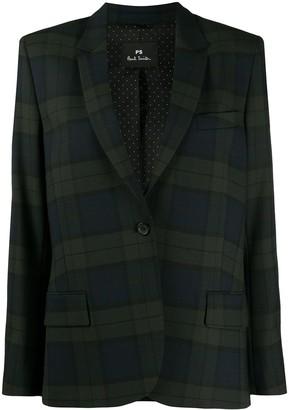 Paul Smith Tartan-Check-Print Single-Breasted Blazer