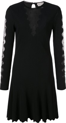 Alexander McQueen Scalloped Mesh Insert Skater Dress