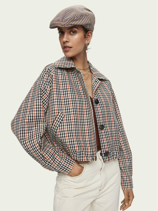 Scotch & Soda Cropped long sleeve houndstooth checked jacket   Women